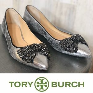 Tory Burch Metallic Silver Crackle Bow Flats